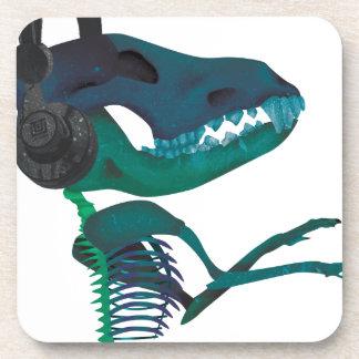 Wellcoda Dinosaur Headphone Music Lover Coaster
