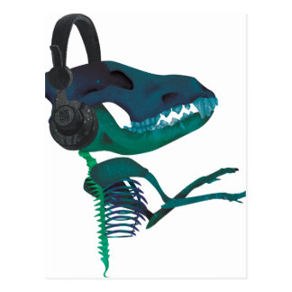 Wellcoda Dinosaur Headphone Music Lover Postcard