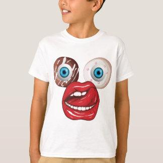 Wellcoda Donut Eyeball Face Sweet Lip T-Shirt