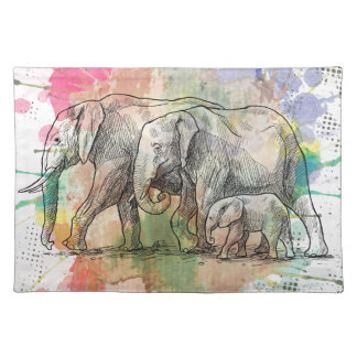 Wellcoda Elephant Family Walk Zoo Animal Placemat