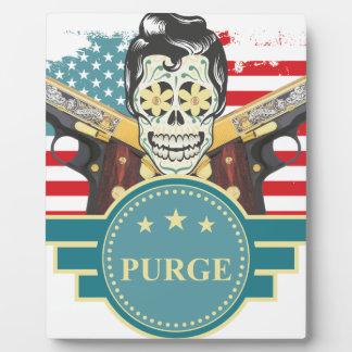 Wellcoda Elvy Skull Head USA American Gun Plaque
