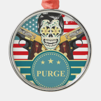 Wellcoda Elvy Skull Head USA American Gun Silver-Colored Round Decoration
