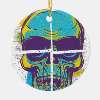 Wellcoda Epic Party DJ Skull Dead Summer Round Ceramic Decoration