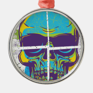 Wellcoda Epic Party DJ Skull Dead Summer Silver-Colored Round Decoration