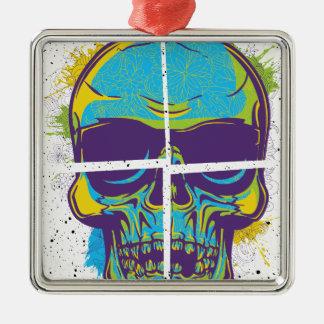 Wellcoda Epic Party DJ Skull Dead Summer Silver-Colored Square Decoration
