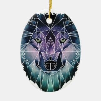 Wellcoda Epic Summer Wolf Face Nature Fun Christmas Ornament