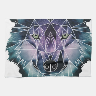 Wellcoda Epic Summer Wolf Face Nature Fun Tea Towel