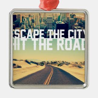 Wellcoda Escape The City Hit The Road Fun Silver-Colored Square Decoration