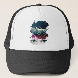 Wellcoda Eye Feather Fantasy Galaxy Sky Trucker Hat