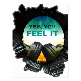 Wellcoda Feel Music Headphone Tune DJ Postcard