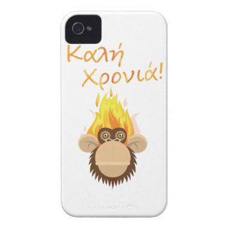 Wellcoda Fire Monkey Greeting Party Happy iPhone 4 Case-Mate Cases