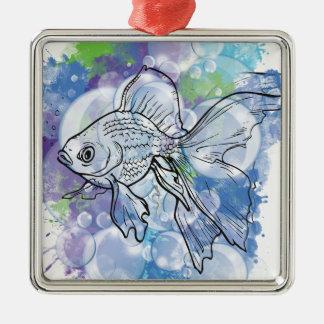 Wellcoda Fish Animal Nature Sea Bubble Silver-Colored Square Decoration