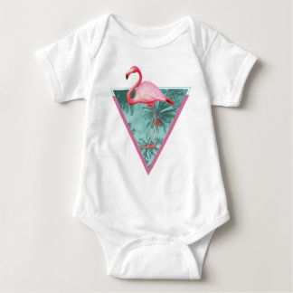 Wellcoda Flamingo Palm Beach Paradise Fun Baby Bodysuit