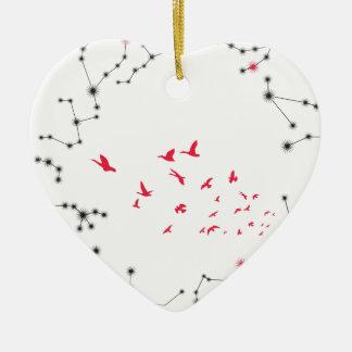 Wellcoda Flock Of Seagull Bird Crazy Print Ceramic Heart Decoration