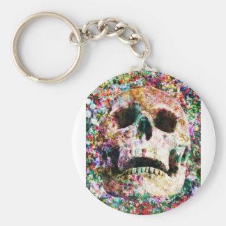 Wellcoda Flower Bed Skull Life Grave Yard Basic Round Button Key Ring