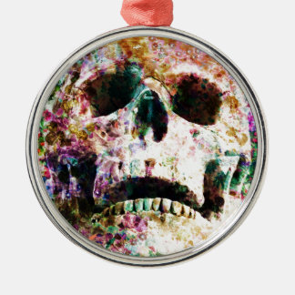 Wellcoda Flower Bed Skull Life Grave Yard Silver-Colored Round Decoration