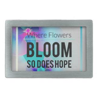 Wellcoda Flower Bloom And Hope Happy Time Rectangular Belt Buckle