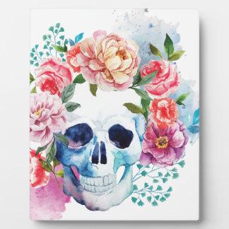 Wellcoda Flower Grave Skull Skeleton Head Plaque