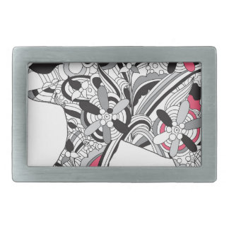 Wellcoda Flower Power Elephant Crazy Print Belt Buckle
