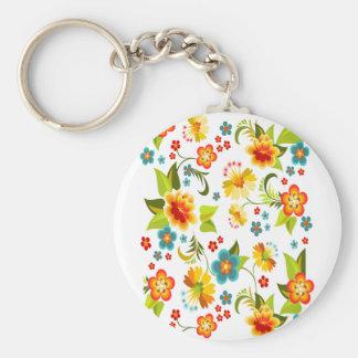 Wellcoda Flower Power Garden Yard Life Fun Basic Round Button Key Ring