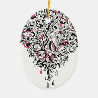 Wellcoda Flower Power Heart Petal Rose Fun Ceramic Oval Decoration