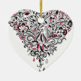 Wellcoda Flower Power Heart Petal Rose Fun Christmas Ornament
