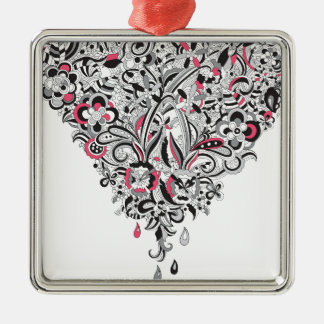 Wellcoda Flower Power Heart Petal Rose Fun Silver-Colored Square Decoration