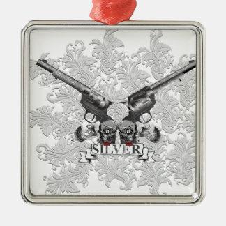 Wellcoda Flower Silver Pistol Skull Gun Christmas Ornament