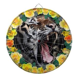 Wellcoda Flower Tiger Wild Cat Nature Law Dartboard