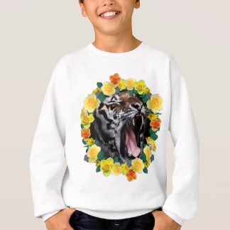 Wellcoda Flower Tiger Wild Cat Nature Law Sweatshirt