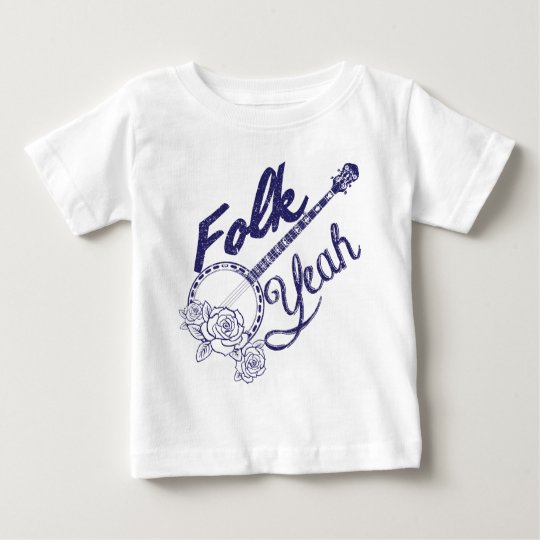 Wellcoda Folk Yeah Music Funny Banjo Rose Baby T-Shirt