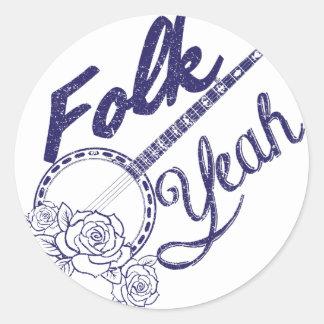 Wellcoda Folk Yeah Music Funny Banjo Rose Classic Round Sticker