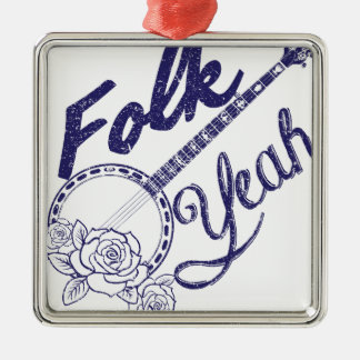 Wellcoda Folk Yeah Music Funny Banjo Rose Silver-Colored Square Decoration