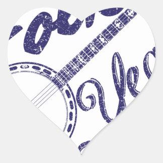 Wellcoda Folk Yeah Music Life Banjo Beat Heart Sticker