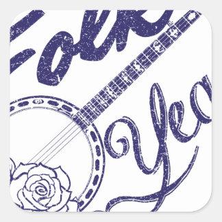 Wellcoda Folk Yeah Music Life Banjo Beat Square Sticker
