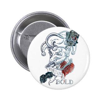 Wellcoda Fortune Favors Bold Evil Joker 6 Cm Round Badge