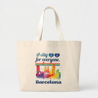 Wellcoda Friendly Barcelona Spain City Large Tote Bag