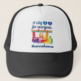 Wellcoda Friendly Barcelona Spain City Trucker Hat