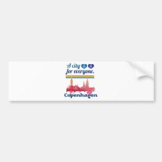 Wellcoda Friendly Copenhagen Denmark City Bumper Sticker