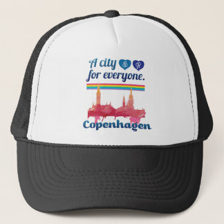 Wellcoda Friendly Copenhagen Denmark City Trucker Hat