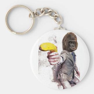 Wellcoda Funny Gorilla Suit Monkey Banana Basic Round Button Key Ring