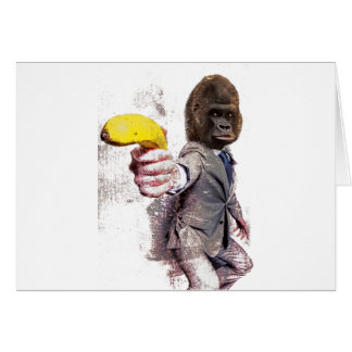 Wellcoda Funny Gorilla Suit Monkey Banana Card