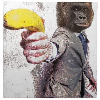 Wellcoda Funny Gorilla Suit Monkey Banana Napkin