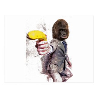 Wellcoda Funny Gorilla Suit Monkey Banana Postcard