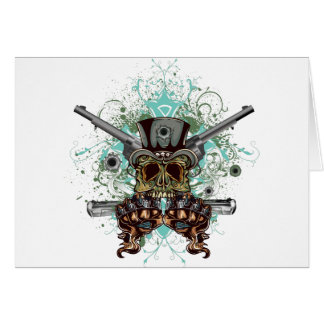 Wellcoda Gangster Skull Head Gun Bullet Card