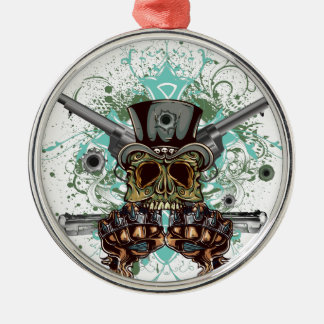 Wellcoda Gangster Skull Head Gun Bullet Silver-Colored Round Decoration