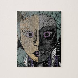Wellcoda Girl Face Skeleton Half Head Jigsaw Puzzle
