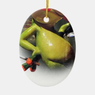 Wellcoda Glamour Frog Smoke Funny Animal Ceramic Oval Decoration