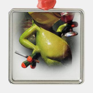 Wellcoda Glamour Frog Smoke Funny Animal Silver-Colored Square Decoration
