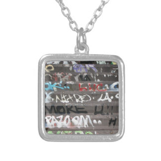 Wellcoda Graffiti Vandal Print Urban Life Square Pendant Necklace